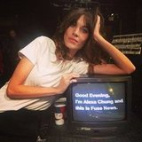Alexa Chung posed with a teleprompter. Source: Twitter user alexa_chung