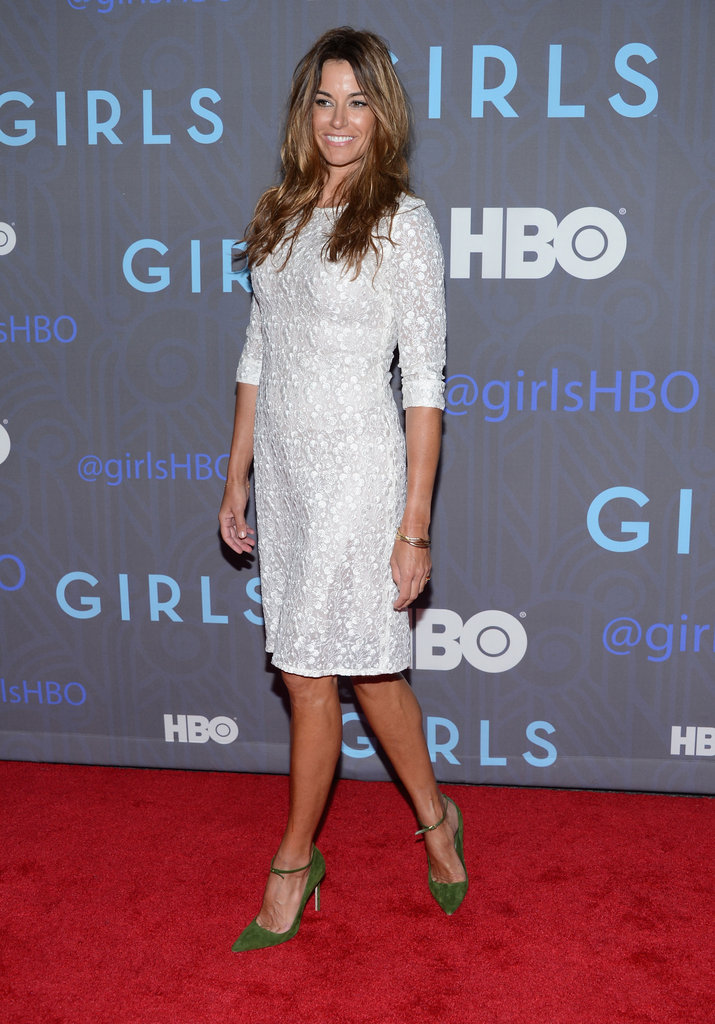 Kelly Bensimon offset a textural white dress with green pointy-toe pumps.