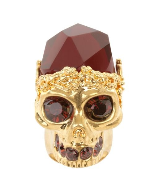 No stacking or layering necessary — Alexander McQueen's gold ruby skull cocktail ring ($289, originally $475) is bold enough to wear all on its own.