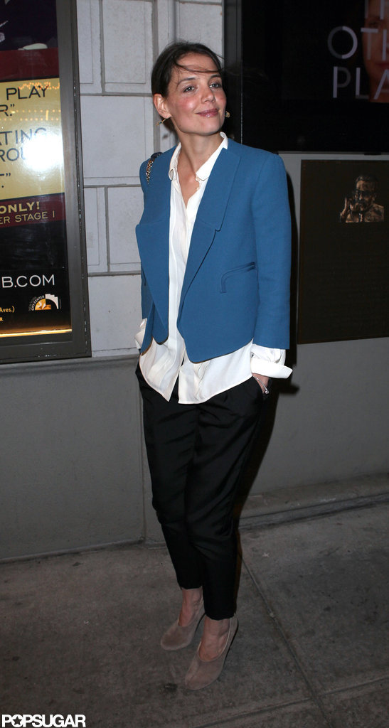 Katie Holmes wore a blue blazer and black pants to a Broadway show.