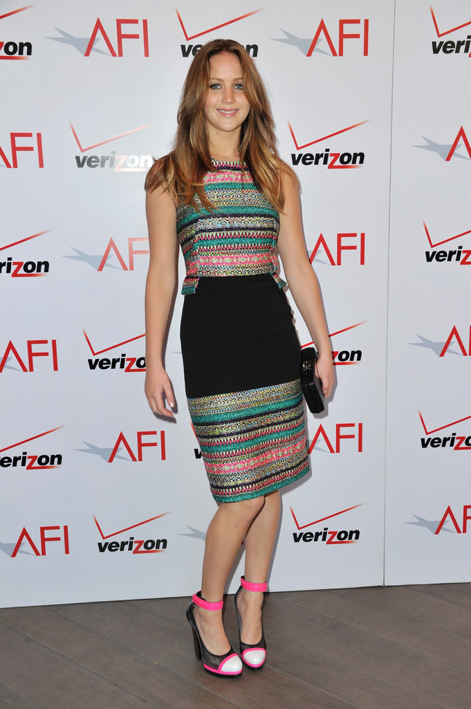 Jennifer Lawrence posed in a Prabal Gurung dress.