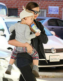Miranda Kerr and Flynn Bloom headed to the gym.