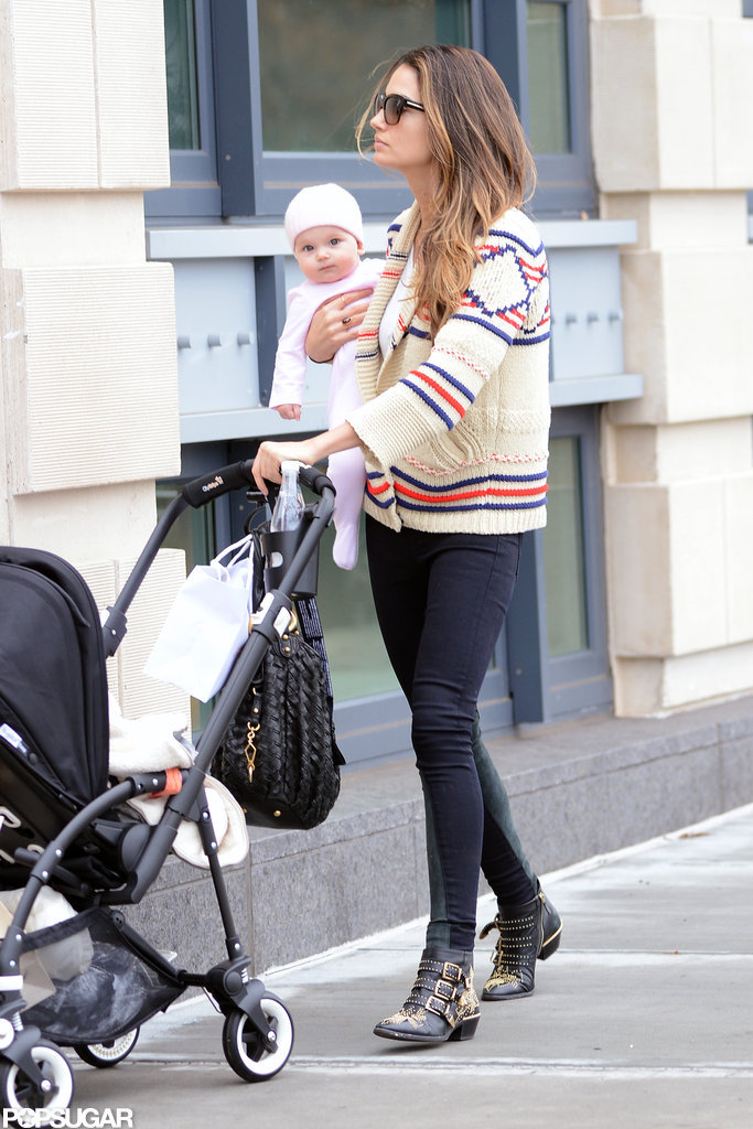 Lily Aldridge took her daughter, Dixie, for a walk in NYC.
