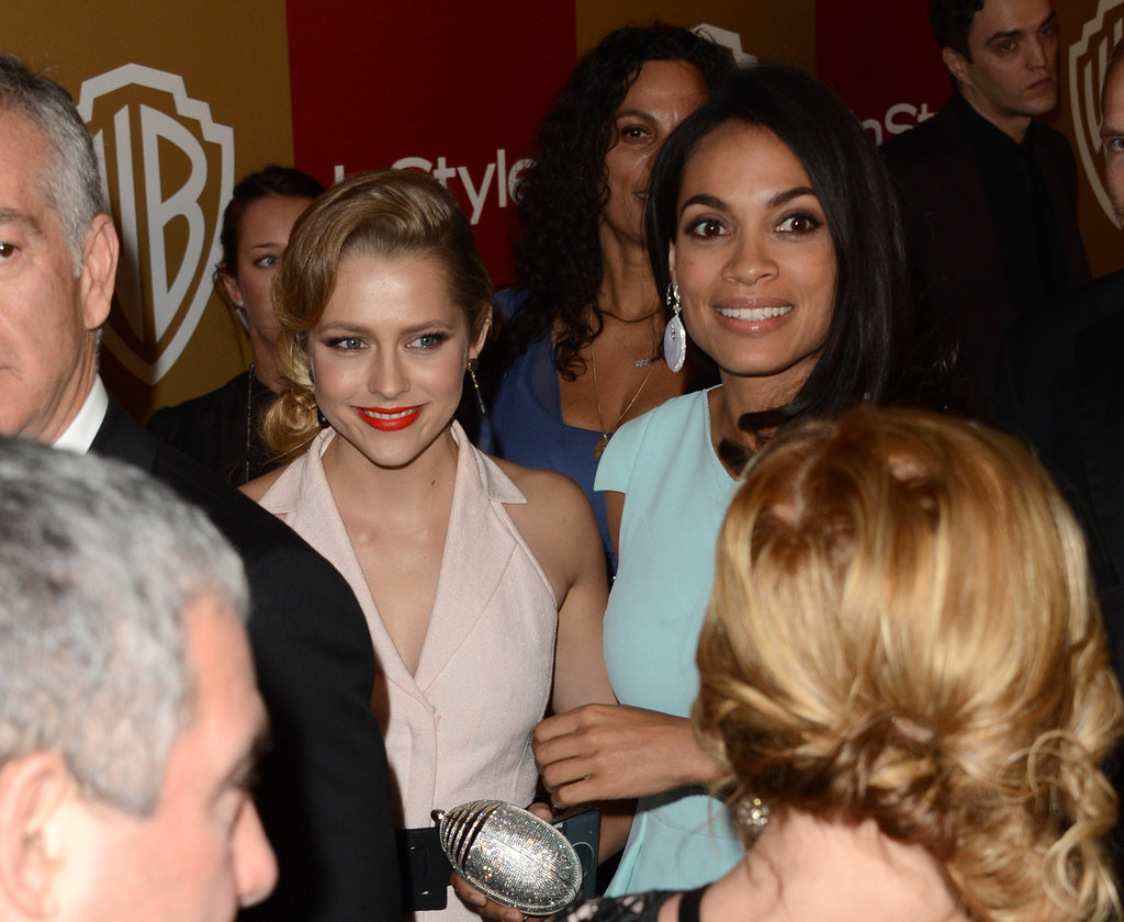 Rosario Dawson and Teresa Palmer linked arms.