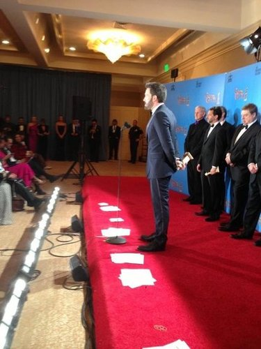Ben Affleck and his Argo team answered questions in the press room after their big win. Source: Facebook user Ben Affleck