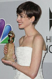 Anne Hathaway looked sweet in white at the NBC after party.
