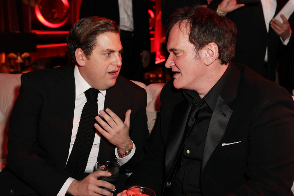 Funny guy Jonah Hill was deep in conversation with Golden Globe winner and director Quentin Tarantino.