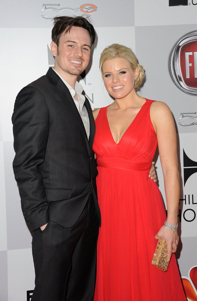 Brian Gallagher and Megan Hilty hit up the NBC afterparty together.