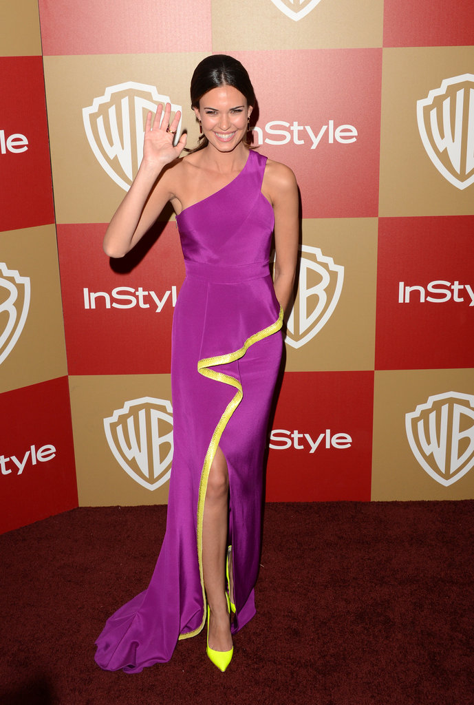 Odette Annable wore bright colors on the red carpet.