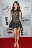 Troian Bellisario donned a lace mini dress.