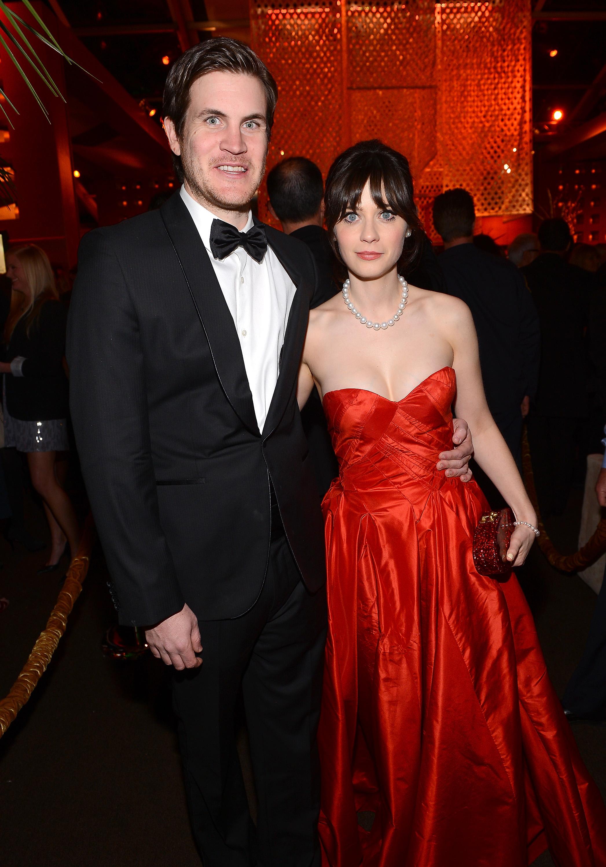 Couple Jamie Linden and Zooey Deschanel were at the Fox celebration.