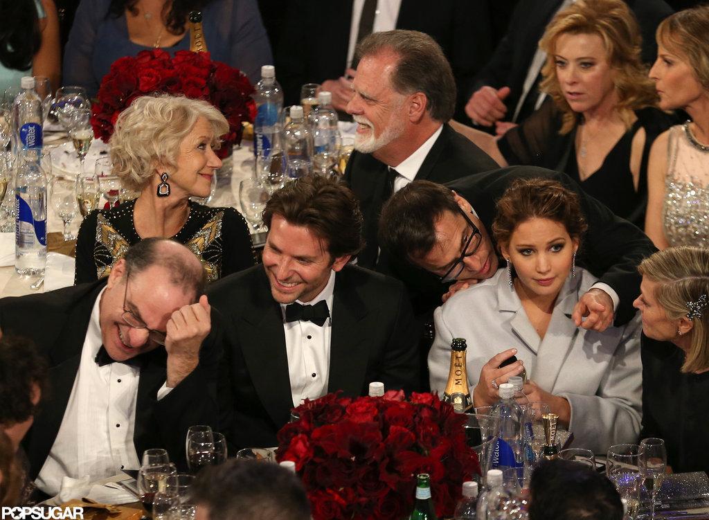 Bradley Cooper laughed aside Jennifer Lawrence during the show.
