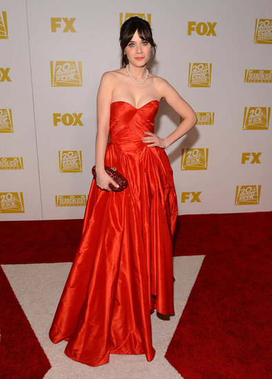 Zooey Deschanel posed at the Fox after party.