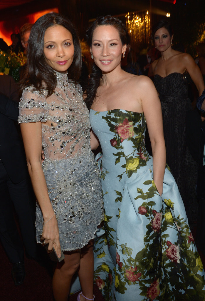 Lucy Liu and Thandie Newton caught up at the party.