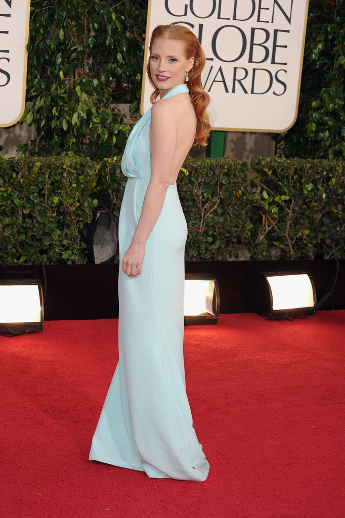 Golden Globe winner Jessica Chastain chose to go with lighter tones, dazzling in her seafoam Calvin Klein gown.
