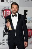 Hugh Jackman showed off his award.