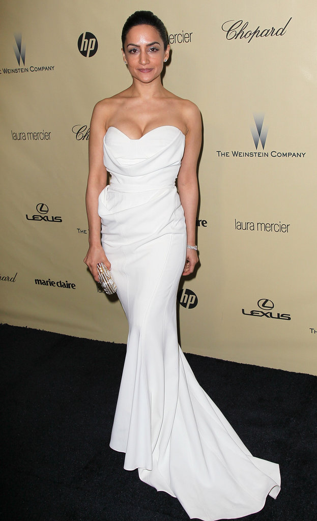 Archie Panjabi was a beauty in a sculpted white fishtail gown at the Weinstein party.