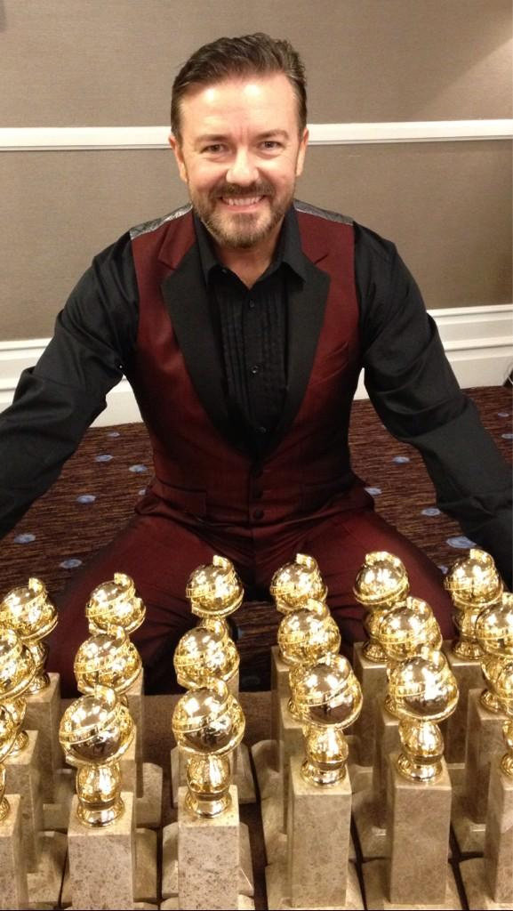 Ricky Gervais gets his hands on an award or 50... Source: Twitter user rickygervais