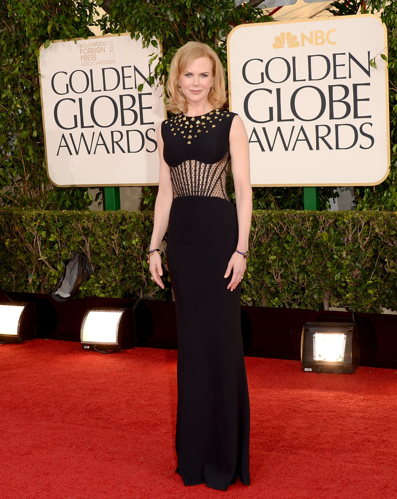 Nicole Kidman also wore an Alexander McQueen gown with gold embellishment.