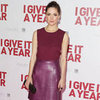 Rose Byrne Wearing Berry Leather Skirt