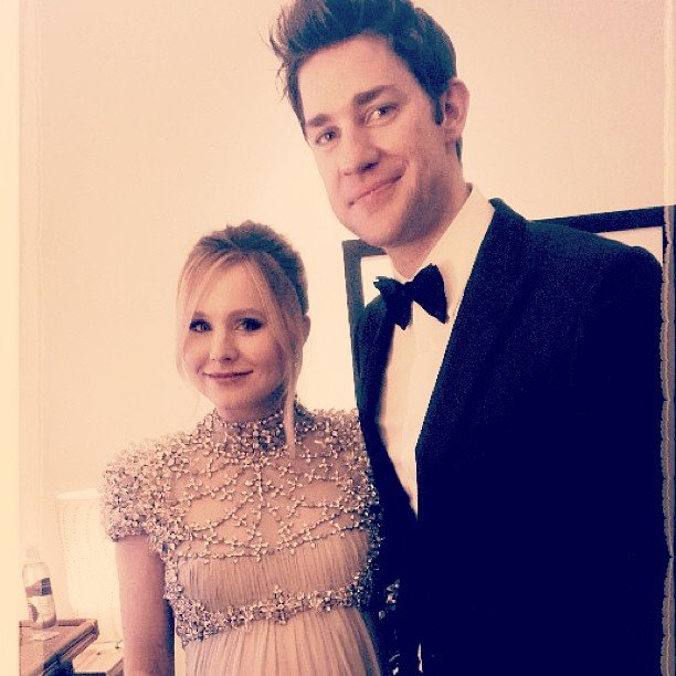 Kristen Bell and John Krasinki posed together in the Golden Globes green room before hitting the stage. Source: Instagram user jessicaalba