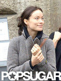Olivia Wilde showed off her engagement ring in Rome.