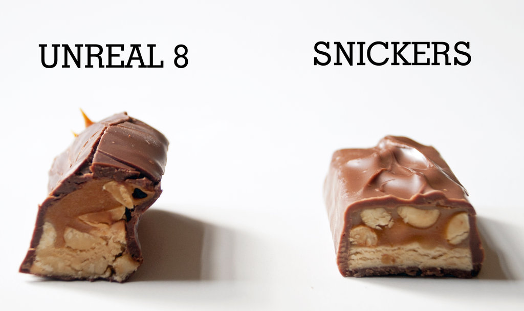 Unreal 8 Chocolate Caramel Peanuts Nougat Bar vs. Snickers