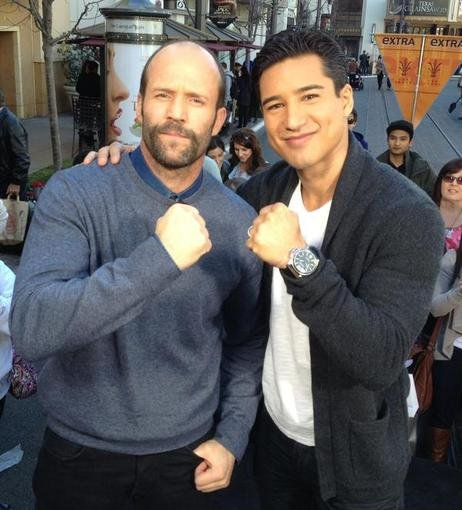 Mario Lopez interviewed Jason Statham for Extra. Source: Twitter user MarioLopezExtra