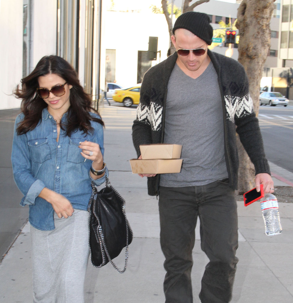 Channing Tatum's buzzed head was visible under his hat for a lunch date with his pregnant wife, Jenna Dewan.