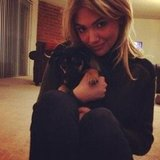 Kate Upton cuddled with a friend's puppy. Source: Twitter user KateUpton