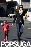 Jennifer Garner held hands with Seraphina for a stop by Brentwood Country Mart in LA.