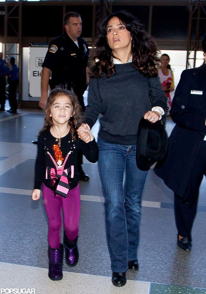 Salma Hayek walked with her daughter, Valentina, through LAX.
