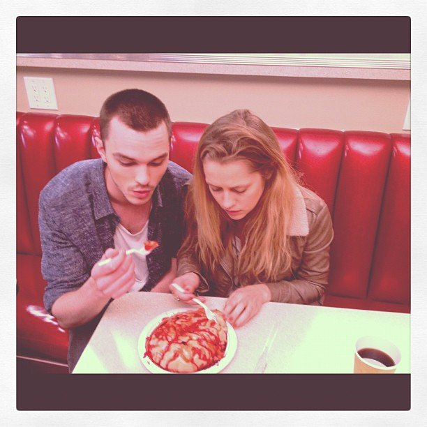 Warm Bodies co-stars Nicholas Hoult and Teresa Palmer feasted on some brains . . . Source: Instagram user tez_palmer