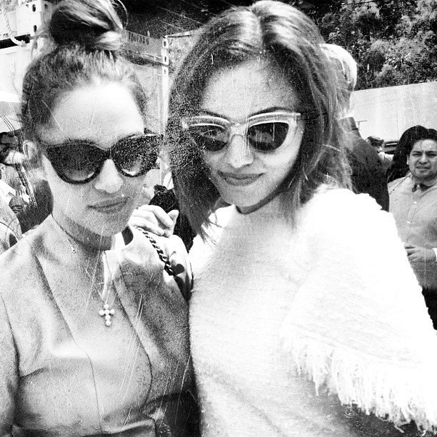 Kym Ellery and Phoebe Tonkin looked too cool for school in this beaten-looking photo. Source: Instagram user kymellery