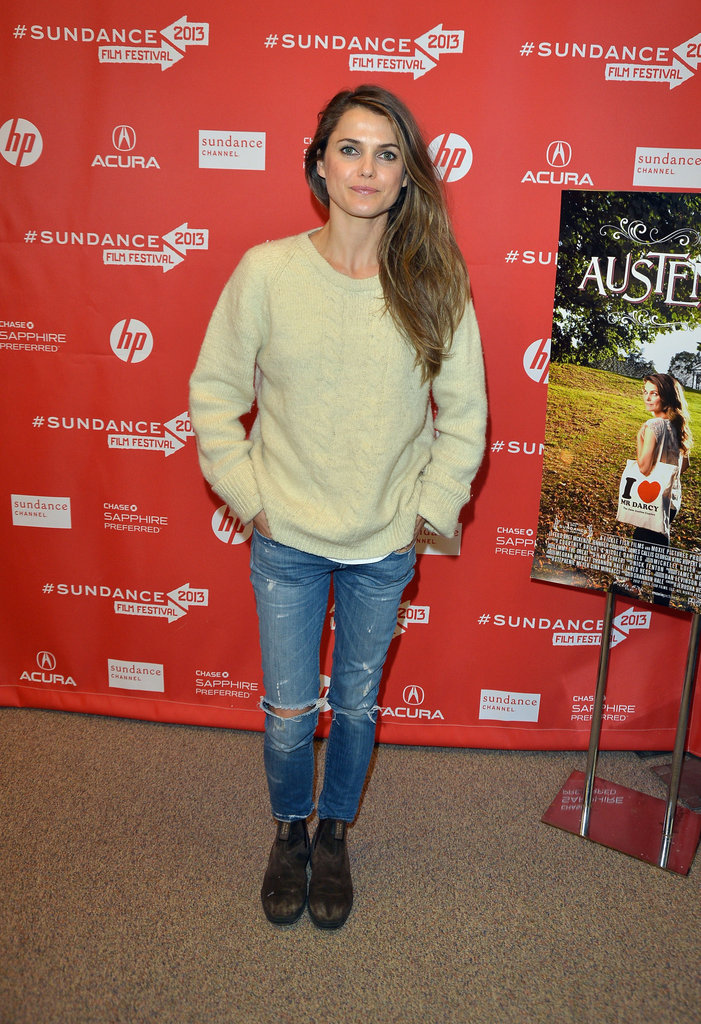 Keri Russell attended the premiere of her latest project Austenland, donning a pair of distressed jeans, oversized sweater, and rugged ankle boots.