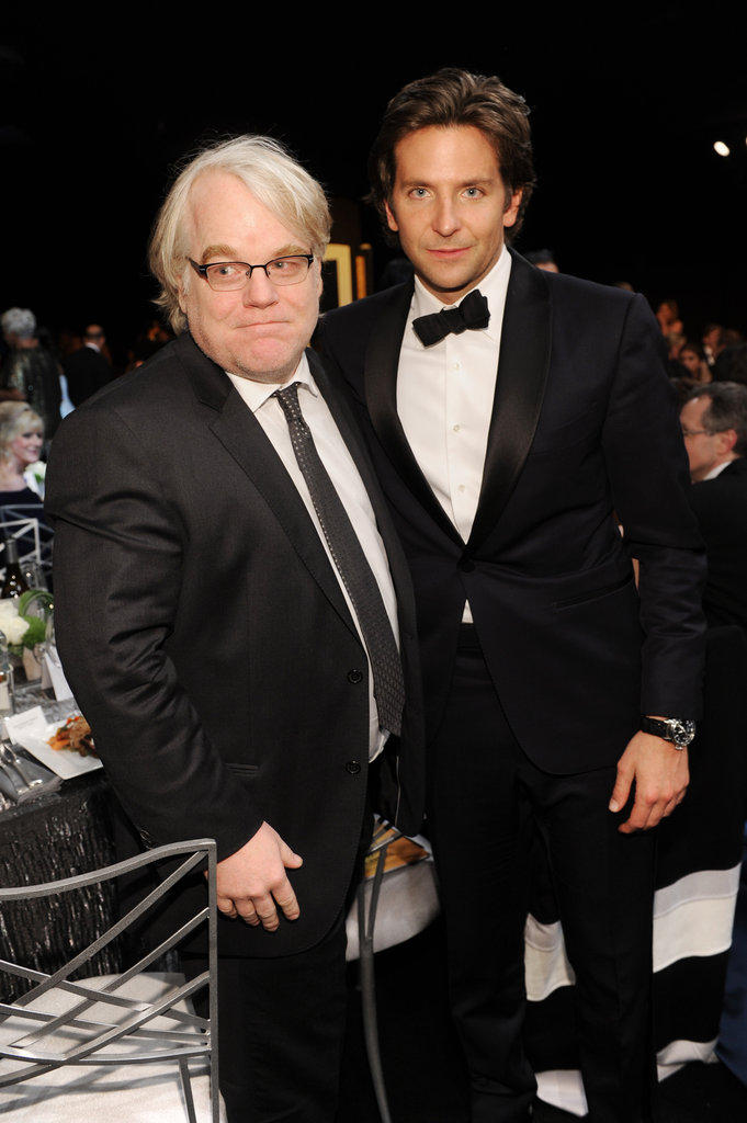 Philip Seymour Hoffman met up with Bradley Cooper.