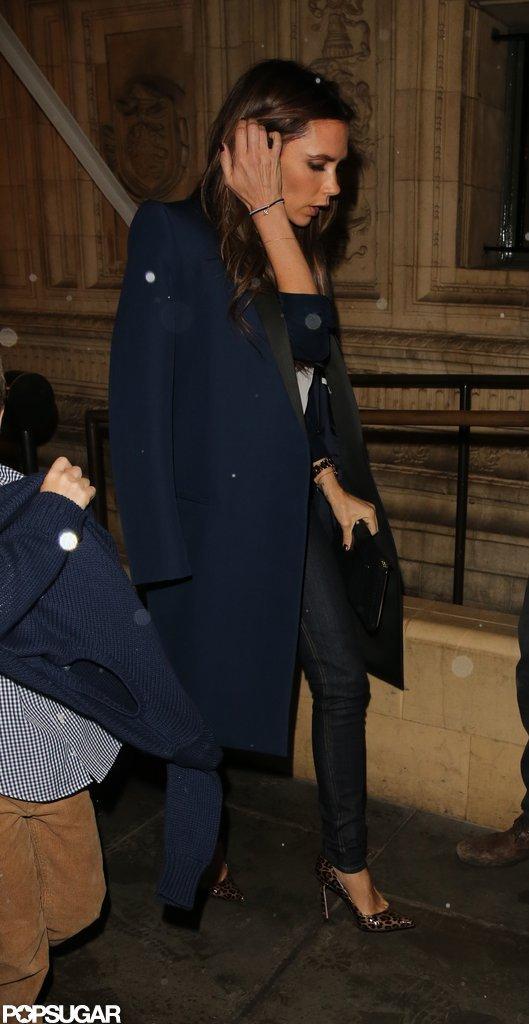 Victoria Beckham wore maroon nail polish.