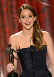 Jennifer Lawrence Wins a SAG Award — and Has Another Speech to Explain!