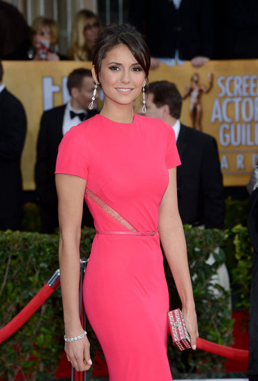 Nina Dobrev Is a Bright Pink Sight at the SAG Awards