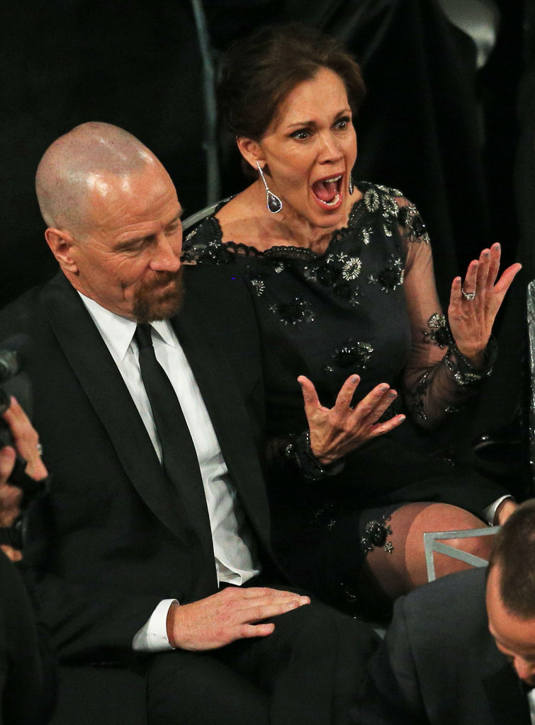 Bryan Cranston's wife and costar, Robin Dearden, showed her excitement at his Breaking Bad win.