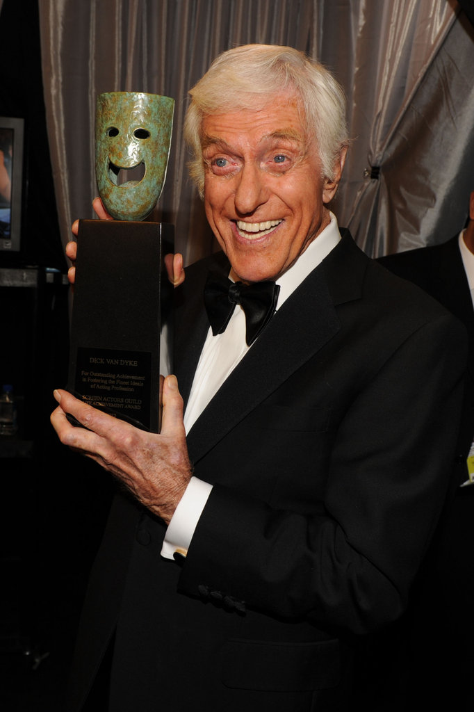 Dick Van Dyke showed off his Life Achievement Award.