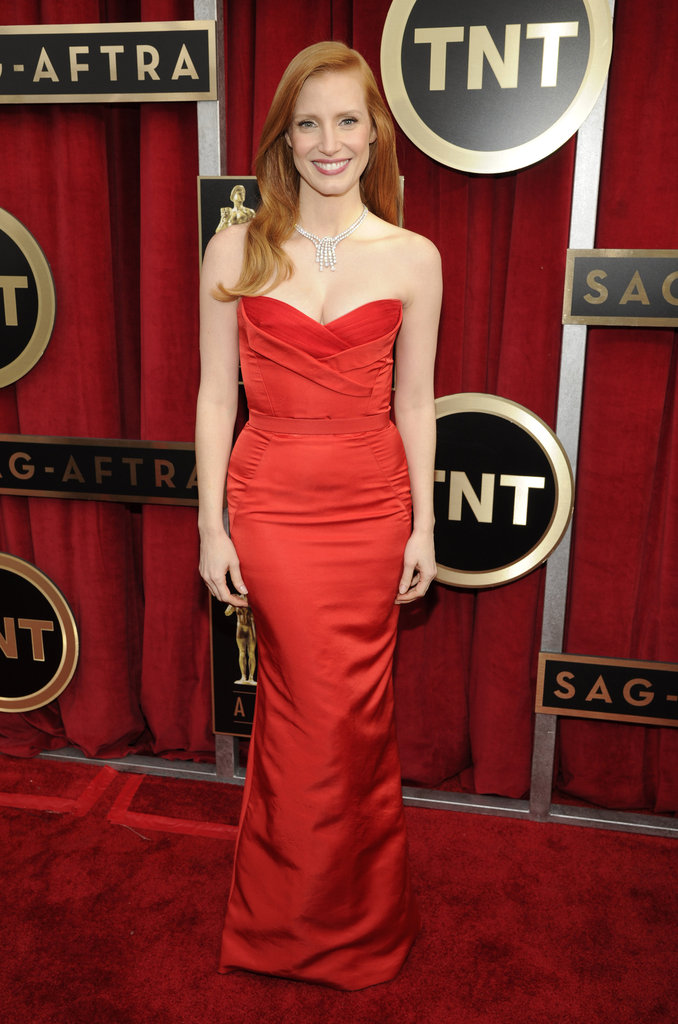Jessica Chastain wore McQueen and Harry Winston jewels.