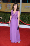 Sally Field was all smiles in a violet chiffon gown by J. Mendel and crystal peep-toe pumps.