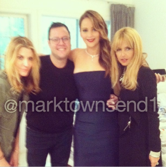 A sneak peek at Jennifer Lawrence with her glam squad. Source: Instagram user marktownsend1