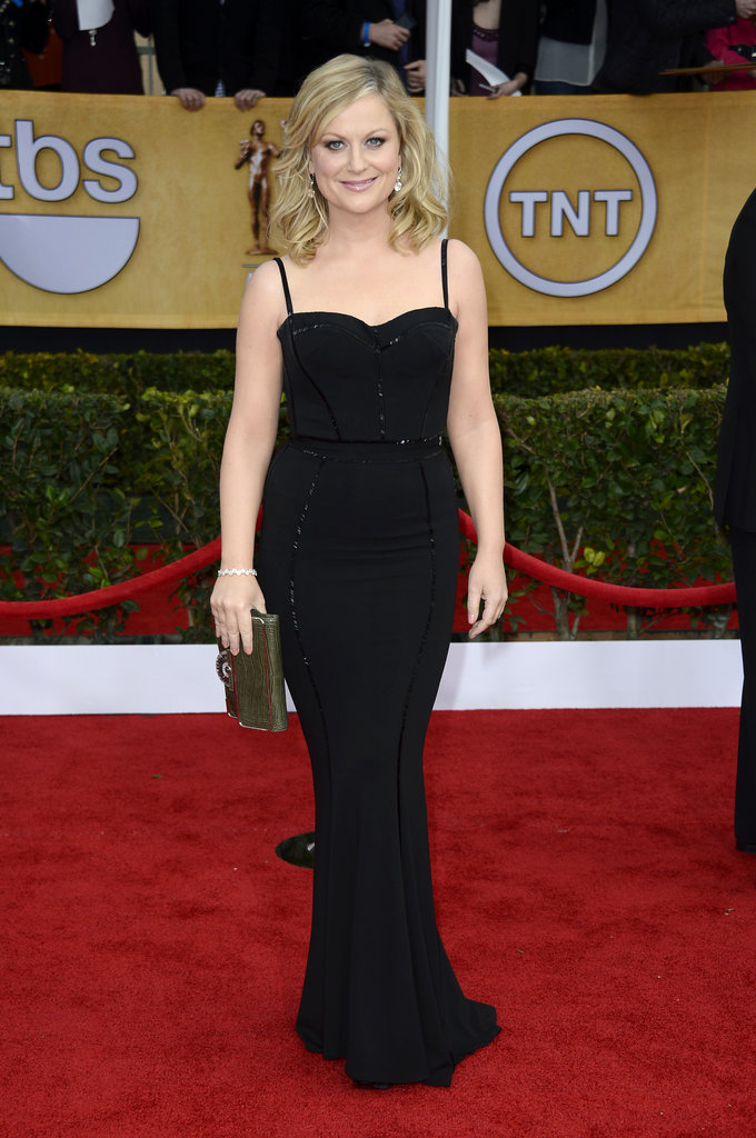 Amy Poehler looked svelte in a black formfitting Zuhair Murad gown, green crocodile clutch, and diamond earrings.