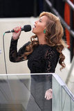Beyonce wore gorgeous 80-carat emerald earrings by jeweler Lorraine Schwartz Monday.