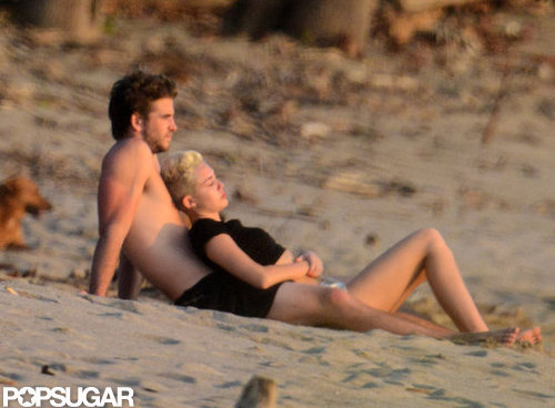 Miley Cyrus and Liam Hemsworth watched the sunset in Costa Rica while vacationing in January.