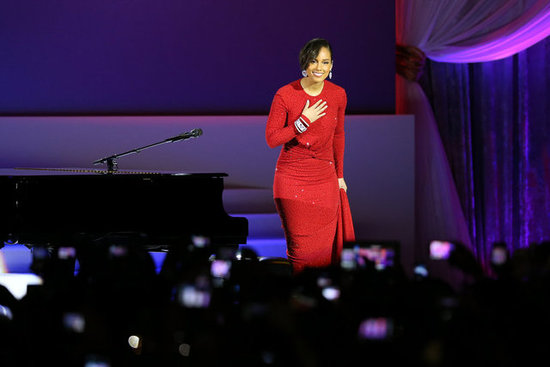 Alicia Keys gave a stunning performance at the public Inaugural Ball at the Walter E. Washington Convention Center wearing a formfitting red beaded dress by Michael Kors.