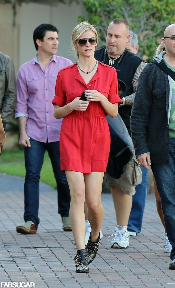 Brooklyn Decker went bold in a red dress and black studded Chloé boots while strolling the streets of Sydney.