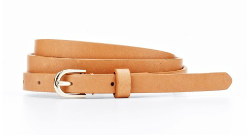 Another easy way to incorporate camel into your wardrobe is to cinch your dresses and pants with this camel belt by Ann Taylor ($30).